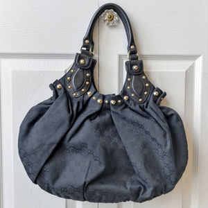 Gucci Monogram Studded Black Canvas Hobo Bag
